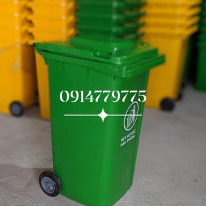 thùng rác nhựa hdpe 240 lít màu xanh
