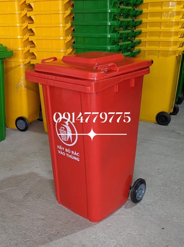 thùng rác nhựa DHPE 240 lít đỏ