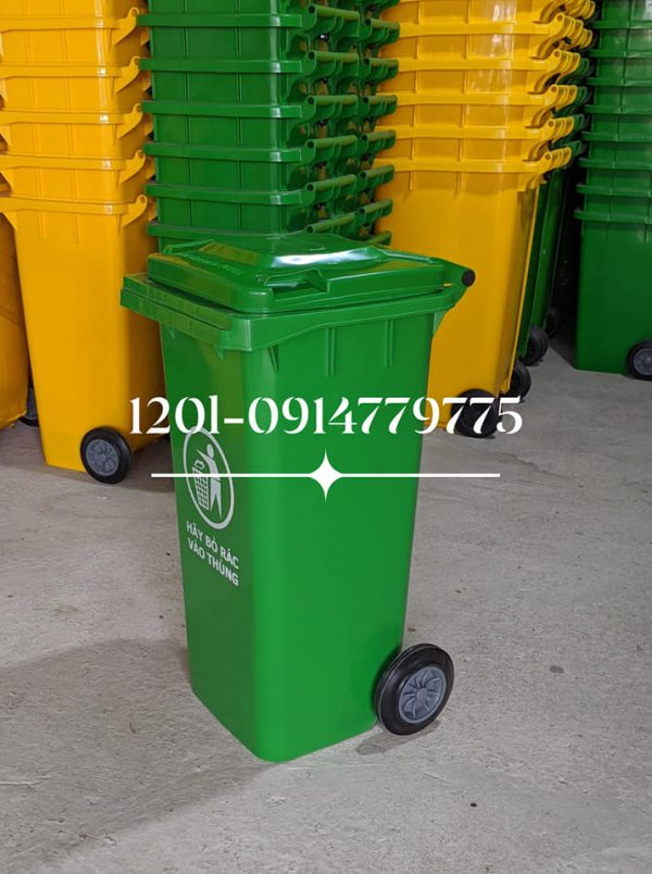 thùng rác 120 lít xanh